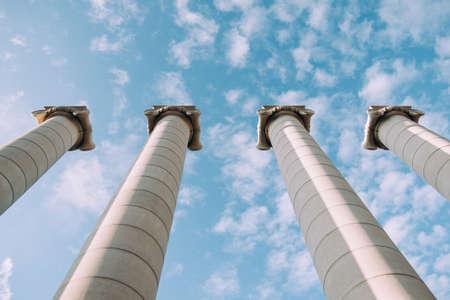 Greek columns at the sky background. Stockfoto