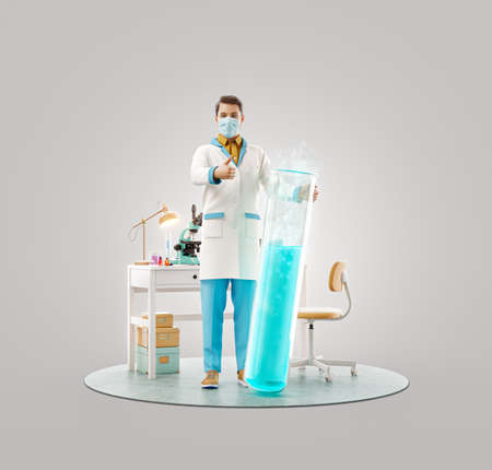 3d illustration of young scientist with vaccine showing thumb up while standing in laboratory. Biochemistry, pharmaceuticals and health care concept.