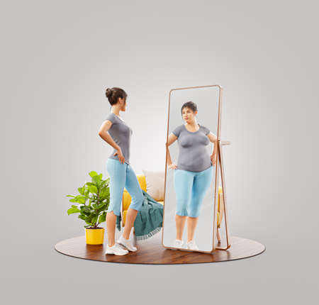 3d Illustration of young cute sporty girl looking in the mirror and imagining herself as fat. Psychological problem. Disorder, anorexia or bulimia.