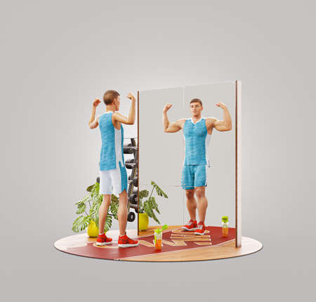 3d Illustration of young skinny man looking in the mirror and imagining herself as muscular bodybuilder. Motivation sports concept