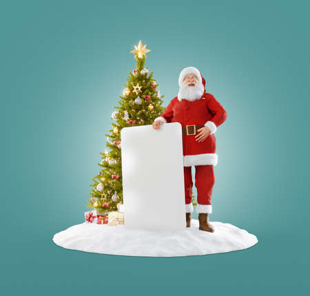 Christmas 3D illustration of Santa Claus standing near Christmas tree and holding white empty board. Merry Christmas and Happy New Year concept.