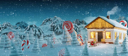 Cute white house decorated at christmas of christmas lights in magical forest. Unusual christmas 3d illustration. Merry Christmas and a Happy new year concept 版權商用圖片