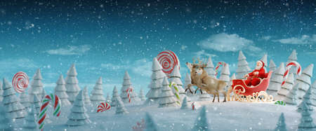 Happy Santa Claus in Christmas sleigh in a magical forest with candy canes. Unusual Christmas 3d illustration. Merry Christmas and a Happy new year concept