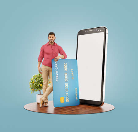 3d illustration of a smiling young african man with credit card at his home. Payment online concept. Smartphone application