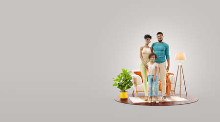 3d illustration of a Happy african american family enjoying a new home. Happy family concept.