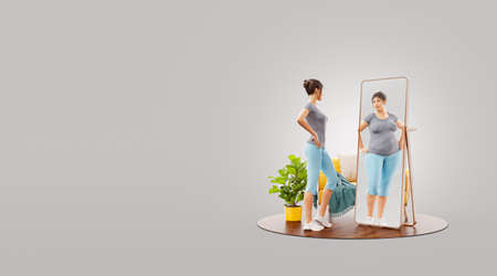 Young cute sporty girl looking in the mirror and imagining herself as fat. Psychological problem. Disorder, anorexia or bulimia. Unusual 3d illustration