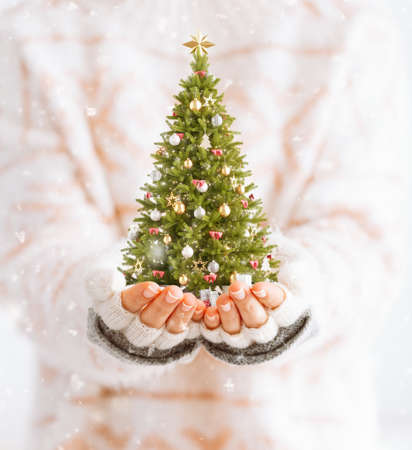 Cute woman holds decorated christmas tree in her hands. Merry Christmas and a Happy new year concept 版權商用圖片