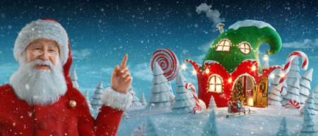 Santa Claus pointing at blank space. Amazing fairy house in shape of elfs hat decorated at christmas in magical forest. Unusual christmas 3d illustration. Merry Christmas and a Happy new year concept