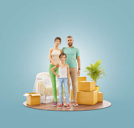 Unusual 3d illustration of a Happy family enjoying new home. Moving house concept. 版權商用圖片