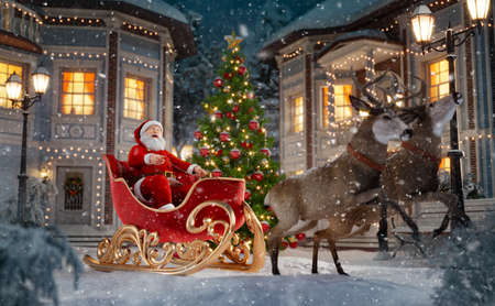 Happy Santa Claus in Christmas sleigh in a town. Unusual Christmas 3d illustration. Merry Christmas and a Happy new year concept 版權商用圖片