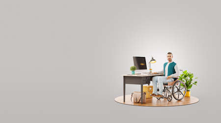 Disabled person in the wheelchair works in the office at the computer. He is smiling and passionate about the workflow. Unusual 3d illustration
