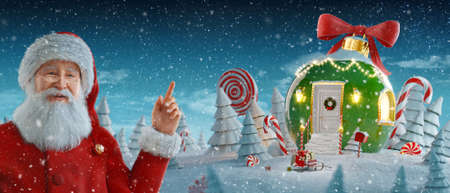 Santa Claus pointing at blank space. Amazing fairy house decorated at christmas in shape of christmas bauble. Unusual christmas 3d illustration. Merry Christmas and a Happy new year concept