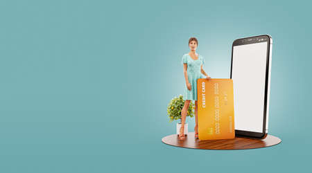 3d illustration of a smiling young female with credit card at her home. Payment online concept. Smartphone application
