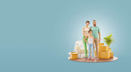 3d illustration of a Happy family enjoying new home. Moving house concept.