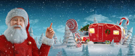 Santa Claus pointing at blank space. Christmas 3d illustration of decorated Santa's Christmas red camper with Christmas lights. Merry Christmas and a Happy new year concept 版權商用圖片