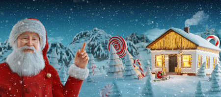 Santa Claus pointing at blank space. Cute white house decorated at christmas of christmas lights. Unusual christmas 3d illustration. Merry Christmas and a Happy new year concept
