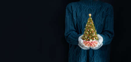 Cute woman holds decorated christmas tree in her hands. Merry Christmas and a Happy new year concept.