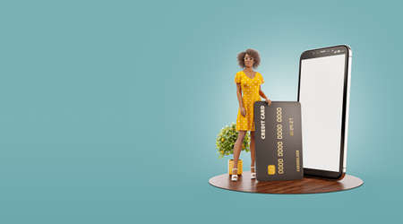 3d illustration of a smiling young black female with credit card at her home. Payment online concept. Smartphone application