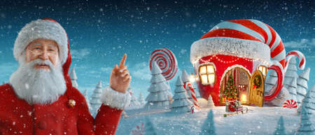 Santa Claus pointing at blank space. Amazing fairy house in shape of tea cup in elfs hat decorated at christmas in magical forest. Unusual christmas 3d illustration postcard