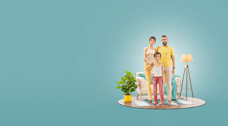 3d illustration of a Happy family enjoying a new home. Happy family concept.