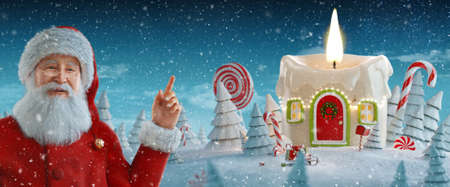 Santa Claus pointing at blank space. Amazing fairy house decorated at Christmas in shape of candle with Christmas lights. Christmas 3d illustration. Merry Christmas and Happy new year