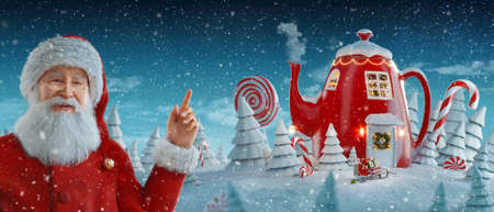 Santa Claus pointing at blank space. Amazing fairy house in shape of kettle decorated at christmas. Unusual christmas 3d illustration postcard. Merry Christmas and a Happy new year concept 版權商用圖片