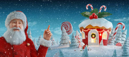 Santa Claus pointing at blank space. Amazing fairy house in shape of Christmas gingerbread muffin with sweets and holly on top decorated of Christmas lights. Unusual Christmas 3d illustration postcard