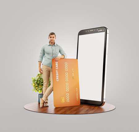 Payment online concept. 3d illustration of a smiling young man with credit card at his home. Smartphone application