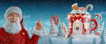 Santa Claus pointing at blank space. Amazing house decorated at Christmas in shape of mug with sweets and Christmas lights. Christmas 3d illustration. Merry Christmas and a Happy new year