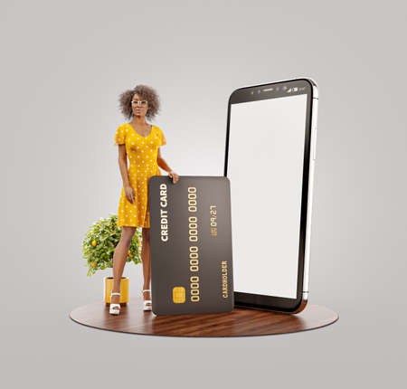 Payment online concept. 3d illustration of a smiling young black female with credit card at her home. Smartphone application 版權商用圖片