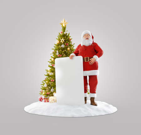 Merry Christmas and Happy New Year concept. Christmas 3D illustration of Santa Claus standing near Christmas tree and holding white empty board.