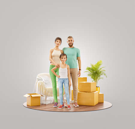 Moving house concept. Unusual 3d illustration of a Happy family enjoying new home.