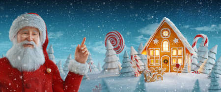 Santa Claus pointing at blank space. Amazing fairy Christmas gingerbread house decorated of Christmas lights. Unusual Christmas 3d illustration. Merry Christmas and a Happy new year concept 版權商用圖片