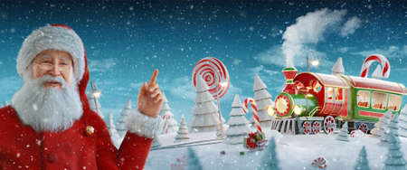 Santa Claus pointing at blank space. Amazing fairy Santa's Christmas train in a magical forest with candy canes. Unusual Christmas 3d illustration postcard.