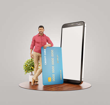 Payment online concept. 3d illustration of a smiling young african man with credit card at his home. Smartphone application