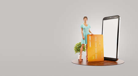 Payment online concept. 3d illustration of a smiling young female with credit card at her home. Smartphone application