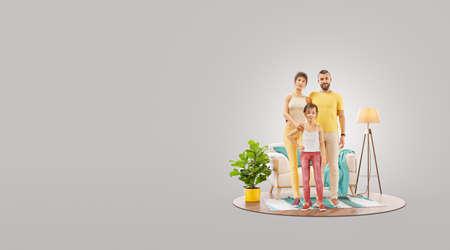 Happy family concept. Unusual 3d illustration of a Happy family enjoying a new home. 版權商用圖片