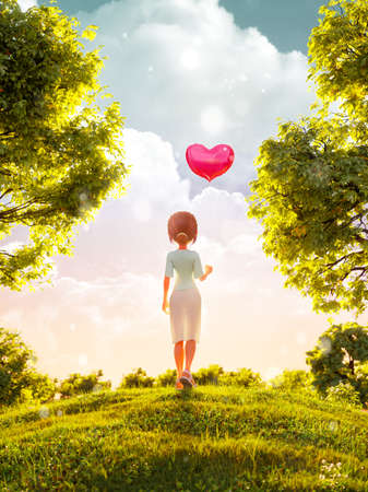 Unusual 3d illustration of a young toon girl standing in park with balloon in shape of heart. Valentines day greeting. Flyer, invitation, banner. 版權商用圖片