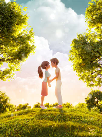 Unusual 3d illustration of a couple in love looking to each other and kissing in park. Valentines day greeting. Flyer, invitation, banner. 版權商用圖片