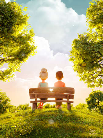Unusual 3d illustration of a couple in love sitting on bench in park at sunset. Valentines day greeting. Flyer, invitation, banner.