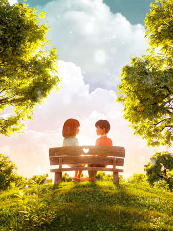 Unusual 3d illustration of a couple in love looking to each other sitting on bench in park. Valentines day greeting. Flyer, invitation, banner.