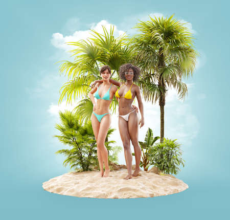 Unusual 3d illustration of beautiful slender women on a tropical island at the ocean. Summertime. Traveling and vacation concept 版權商用圖片