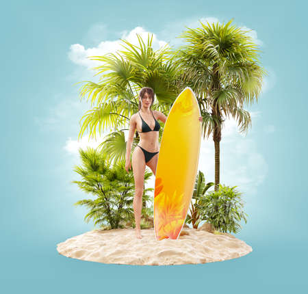 Unusual 3d illustration of a beautiful slender female with surfboard on a tropical island at the ocean. Summertime. Traveling and vacation concept
