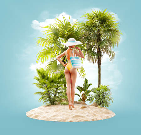 Unusual 3d illustration of a beautiful slender female with handbag on a tropical island at the ocean. Summertime. Traveling and vacation concept 版權商用圖片