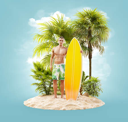 Unusual 3d illustration of a attractive fit man with surfboard on a tropical island at the ocean. Summertime. Traveling and vacation concept