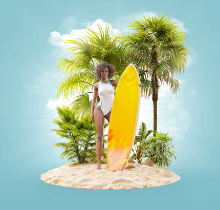 Unusual 3d illustration of a beautiful slender black woman with surfboard on a tropical island at the ocean. Summertime. Traveling and vacation concept