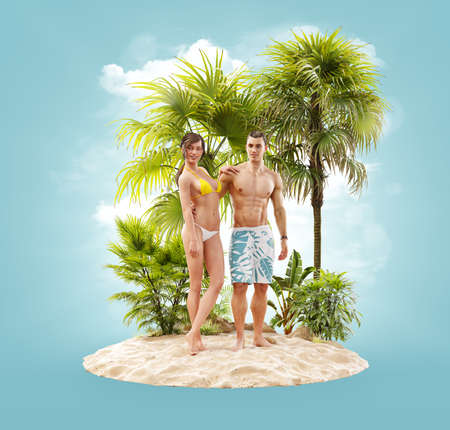 Unusual 3d illustration of a beautiful couple resting on a tropical island at the ocean. Summertime. Traveling and vacation concept 版權商用圖片
