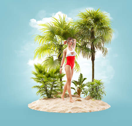 Unusual 3d illustration of a beautiful slender female on a tropical island at the ocean. Summertime. Traveling and vacation concept