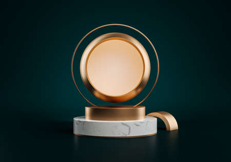 3d illustration of white marble pedestal isolated on black background, round gold frame, memorial board, golden sphere, abstract minimal concept, blank space, clean design, luxury minimalist mockup 版權商用圖片