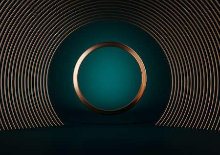 3d illustration of golden rings isolated on Dark green background. round gold frame luxury minimalist mockup. 版權商用圖片